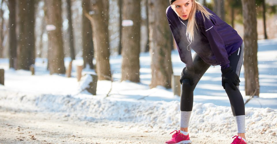 Woman stopped after running in the cold